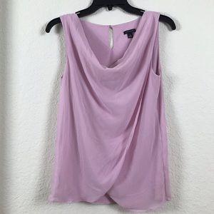 Ann Taylor Faux Wrap Pink Sleeveless Blouse